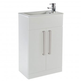 Verona Aquatrend 2-Door Floor Standing Cloakroom Vanity Unit with Basin 550mm Wide - Gloss White
