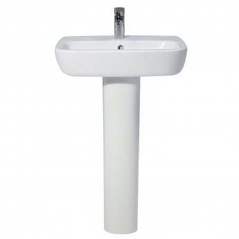 Verona Ballini Contemporary Basin with Full Pedestal 600mm Wide - 1 Tap Hole