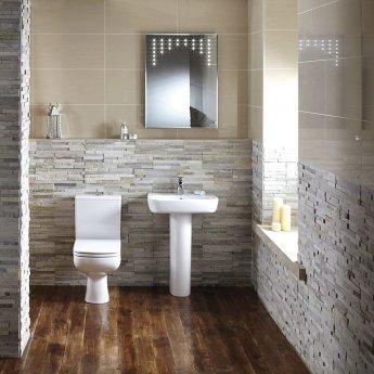 Verona Ballini Close Coupled Toilet WC Push Button Cistern - Soft Close Seat