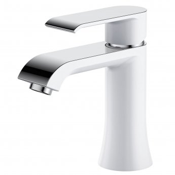 Verona Basque Basin Mixer Tap with Sprung Waste - White and Chrome