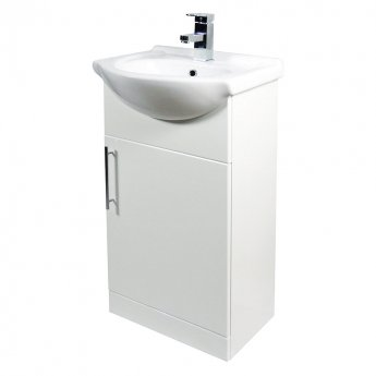 Verona Bianco Floor Standing Vanity Unit and Basin 450mm Wide - Gloss White 1 Tap Hole