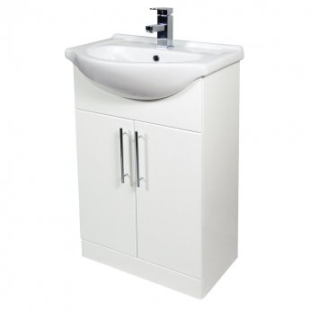 Verona Bianco Floor Standing Vanity Unit and Basin 550mm Wide - Gloss White 1 Tap Hole
