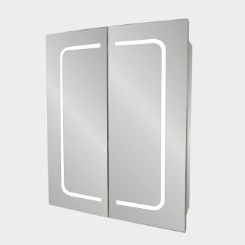 Verona Cannes 2-Door Mirrored Bathroom Cabinet 500mm Wide with LED Light and Shaver Socket