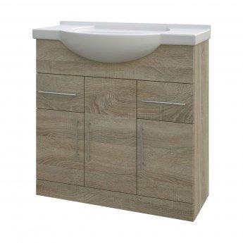 Verona Bathroom Vanity Unit with Basin 750mm Wide - Bordeaux Oak