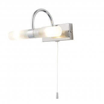 Verona Curve Wall Light with Pull Cord 205mm Wide - Chrome