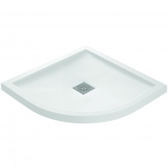 Verona Designer Stone Quadrant Shower Tray 800mm x 800mm - White Slate Effect