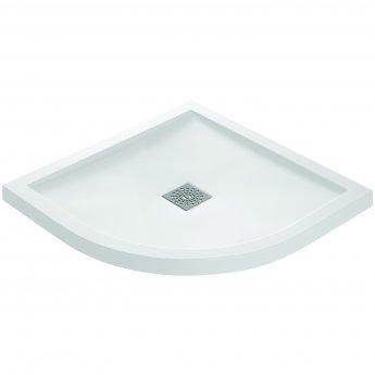 Verona Designer Stone Quadrant Shower Tray 900mm x 900mm - White Slate Effect