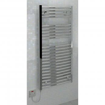 Verona Ellipse Electric Heated Towel Rail 1100mm H x 500mm W - Chrome