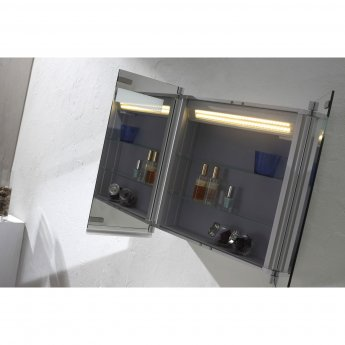 Verona Gibralter 2-Door Mirrored Bathroom Cabinet 800mm Wide with LED Light and Shaver Socket