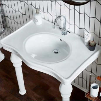 Verona Holborn Console Basin with Ceramic Legs 845mm Wide - 1 Tap Hole