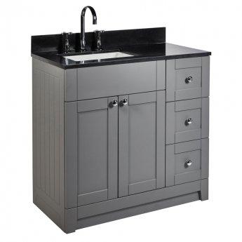 Verona Holborn Floorstanding Vanity Unit with Basin and Black Worktop 900mm Wide - Dust Grey