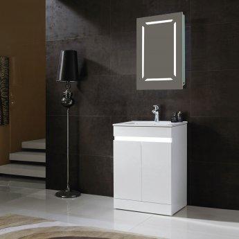 Verona Monaco 1-Door Mirrored Bathroom Cabinet 500mm Wide with LED Light and Shaver Socket