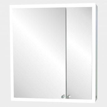 Verona Nice 2-Door Mirrored Bathroom Cabinet 600mm Wide with LED Light and Shaver Socket