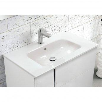 Verona Onix 2 Door Wall Hung Vanity Unit with Square Basin 600mm - Gloss White