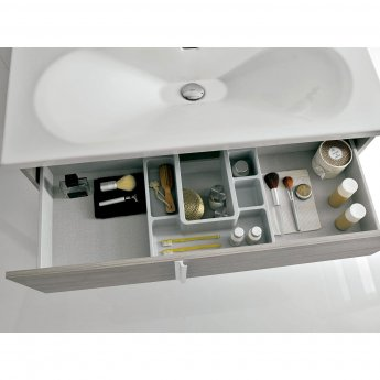 Verona Onix 2 Drawer Wall Hung Vanity Unit with Square Basin 800mm - Gloss White