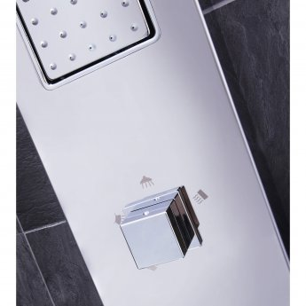 Verona Pano Thermostatic Shower Panel 3 Square Body Jets with Shower Hand