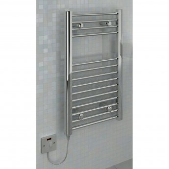 Verona Plane Electric Heated Towel Rail 700mm H x 400mm W - Chrome