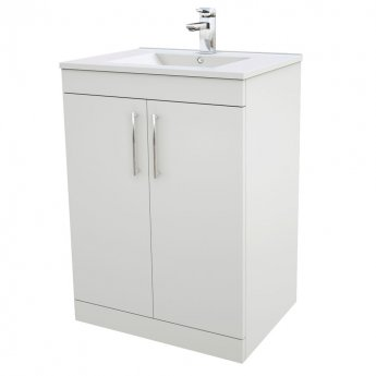 Verona Rialto Floor Standing Vanity Unit and Basin 600mm Wide White 1 Tap Hole
