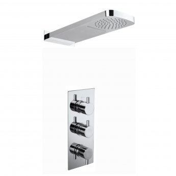 Verona Aquaflow Slyde Triple Concealed Thermostatic Shower Valve with Fixed Head and Waterblade