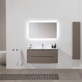 Verona Soft 2-Drawer Wall Hung Vanity Unit with Basin 1200mm Wide - Smoky Grey