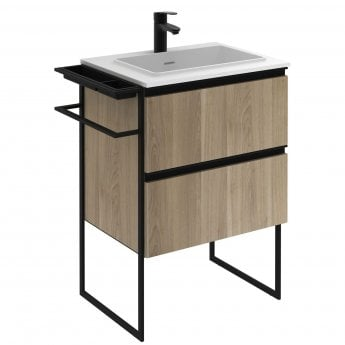 Verona Structure 2-Drawer Vanity Unit with Solid Surface Basin 600mm Wide - Oak