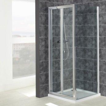 Verona Uno Bi-Fold Shower Door with Tray 760mm x 760mm - 6mm Glass