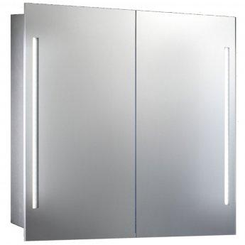 Verona Valletta Slimline 2-Door Mirror Bathroom Cabinet 500mm Wide with LED Light and Shaver Socket
