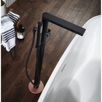 Verona Velar Bath Shower Mixer Tap Floor Standing - Matt Black