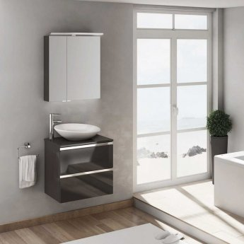 Verona Vida 2 Drawer 800mm Wide Wall Hung Vanity Unit with Basin and Worktop - Anthracite