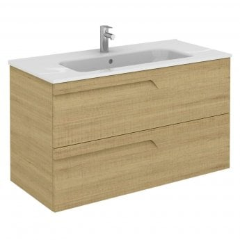 Verona Vitale 2-Drawer Wall Hung Vanity Unit with Square Basin - 1000mm Wide - Light Oak