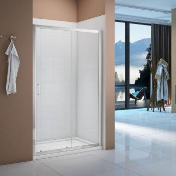 Verona Vivid Sliding Shower Door 1200mm Wide - 6mm Clear Glass