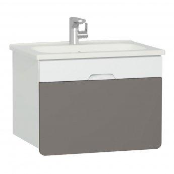Vitra D-light Vanity Unit with Basin 700mm Wide - Matte White / Mink