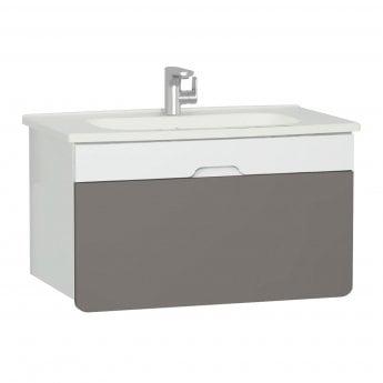 Vitra D-light Vanity Unit with Basin 900mm Wide - Matte White / Mink