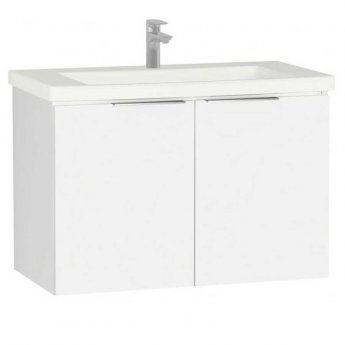 Vitra Ecora 2-Door Wall Hung Vanity Unit with Basin 900mm Wide White - 1 Tap Hole