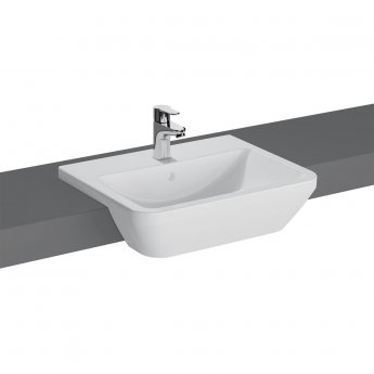 Vitra Integra Semi Recessed Basin with Overflow 550mm Wide - 1 Tap Hole
