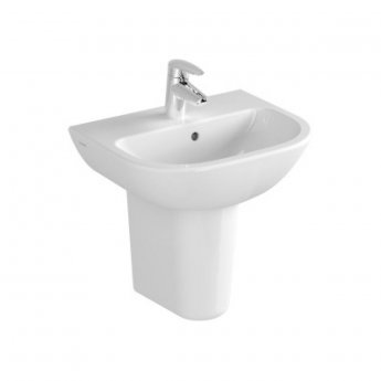 Vitra Layton 450mm Cloakroom Basin and Small Semi Pedestal 1 Tap Hole