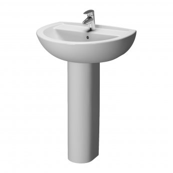 Vitra Layton 450mm Cloakroom Basin and Full Pedestal 1 Tap Hole
