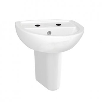 Vitra Layton 450mm Cloakroom Basin and Small Semi Pedestal 2 Tap Hole