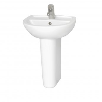 Vitra Layton 500mm Cloakroom Basin and Full Pedestal 1 Tap Hole