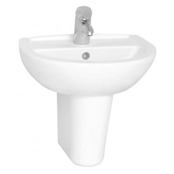 Vitra Layton Basin with Semi Pedestal 500mm Wide - 2 Tap Hole