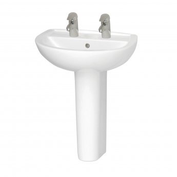 Vitra Layton 500mm Cloakroom Basin and Full Pedestal 2 Tap Hole