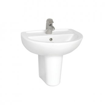 Vitra Layton Basin with Semi Pedestal 550mm Wide - 1 Tap Hole