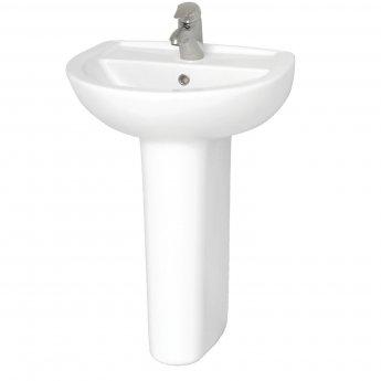 Vitra Layton 550mm Wash Basin and Full Pedestal 1 Tap Hole