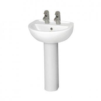 Vitra Layton 550mm Wash Basin and Full Pedestal 2 Tap Hole