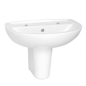 Vitra Layton Basin with Semi Pedestal 600mm Wide - 2 Tap Hole