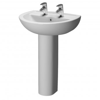 Vitra Layton 600mm Cloakroom Basin and Full Pedestal 2 Tap Hole
