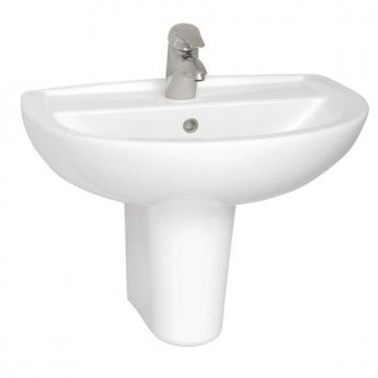 Vitra Layton Basin with Semi Pedestal 650mm Wide - 1 Tap Hole