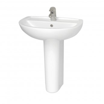 Vitra Layton 650mm Cloakroom Basin and Full Pedestal 1 Tap Hole