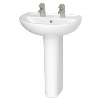 Vitra Layton 650mm Cloakroom Basin and Full Pedestal 2 Tap Hole