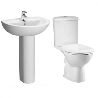 VitrA Layton Cloakroom Suite Corner Toilet and 450mm 1 Tap Hole Basin
